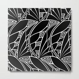 Modern art nouveau tessellations black and white Metal Print