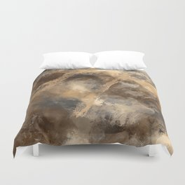 Stormy Abstract Art in Brown and Gray Duvet Cover