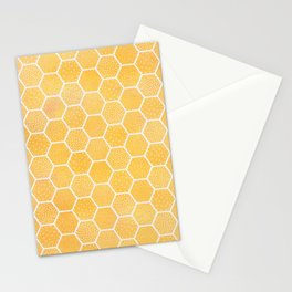 Yellow Honeycomb Pattern Stationery Cards