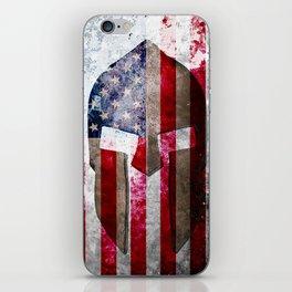 Molon Labe - Spartan Helmet Across An American Flag On Distressed Metal Sheet iPhone Skin