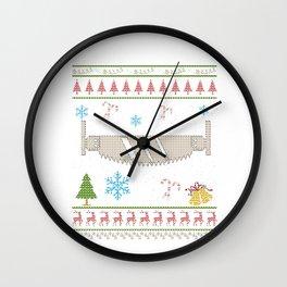 Lumberjack Christmas Ugly Shirt Logger Christmas Wall Clock