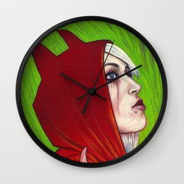 Portrait - Devilish Red Hoodie Wall Clock