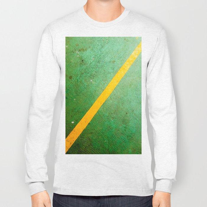 Diagonal Yellow Line Long Sleeve T-shirt
