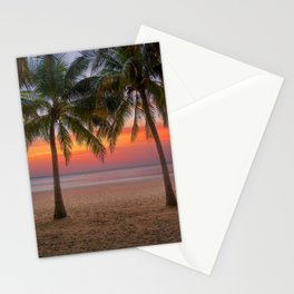 Tropical beach at sunset Stationery Cards