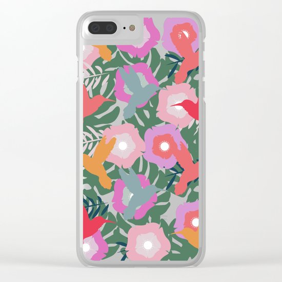 Happy hummingbirds Clear iPhone Case