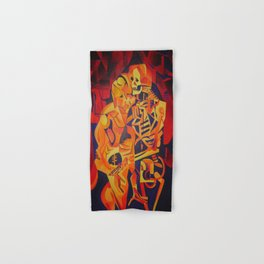A Skeleton and Corpse Embracing Death Hand & Bath Towel