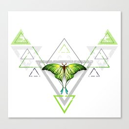 Geometric Pattern with Green Butterfly Canvas Print