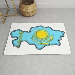 Kazakhstan Map with Kazakh Flag Rug