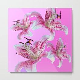 PURPLE & PINK ASIAN LILIES ART Metal Print