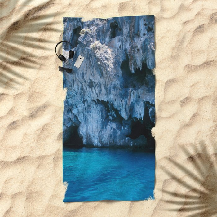 NATURE'S WONDER #3 - BLUE GROTTO #art #society6 Beach Towel