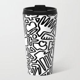 black & white doodle Metal Travel Mug