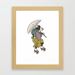 Cat With Ōgi Framed Art Print