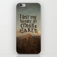 middle earth iPhone & iPod Skins featuring I Left My Heart in Middle Earth by Leah Flores