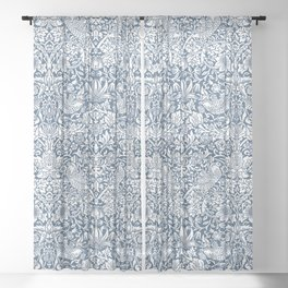 William Morris Navy Strawberry Thief Pattern Sheer Curtain