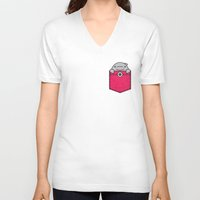 pocket V-neck T-shirts featuring Pocket Dolphin by Steven Toang