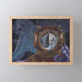 Deep Sea Diving Cat Framed Mini Art Print