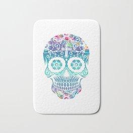 Watercolor floral sugar skull Bath Mat