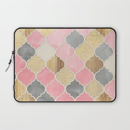 Silver Grey, Soft Pink, Wood & Gold Moroccan Pattern Laptop Sleeve