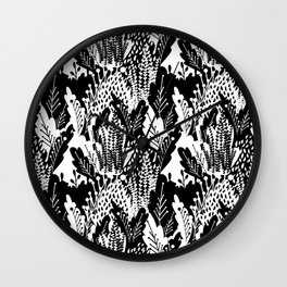 Leafy Meadow in Black and White Wall Clock
