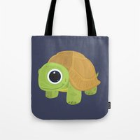 sea turtle Tote Bags featuring Turtle by Adamzworld