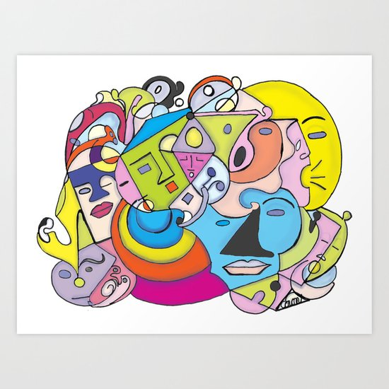 Talk Talk ,Sleepy, and Moonface Graffiti  Art Print