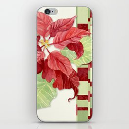 Elegant Single Poinsettia Modern Stripe Christmas Winter Holidays iPhone Skin