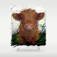 cow Shower Curtains featuring cow by Vector Art