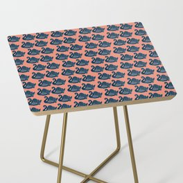 Crown Lynn Swans Navy and Pink Side Table