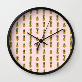 Pineapple on Pink Wall Clock