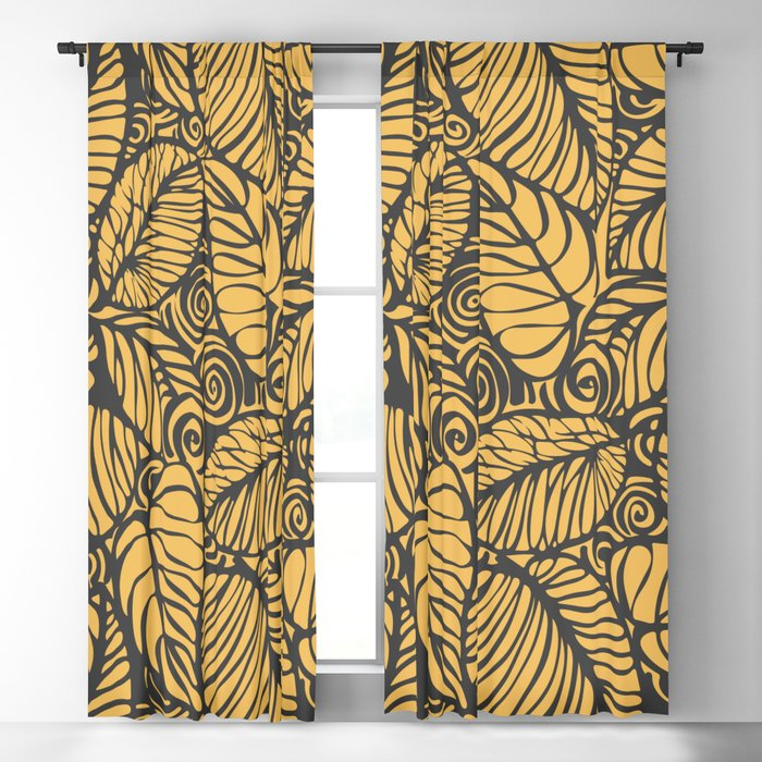 Summer Leaves Gold Blackout Curtain
