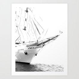 Black and White Sailboat Art Print