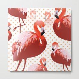 Watercolor Flamingo Pattern 5 Metal Print
