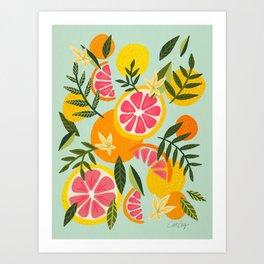 Grapefruit Blooms – Mint Palette Art Print