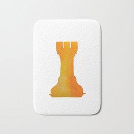 Chess Rook Watercolor Bath Mat