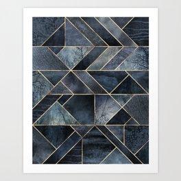 Abstract Nature - Dark Blue Art Print
