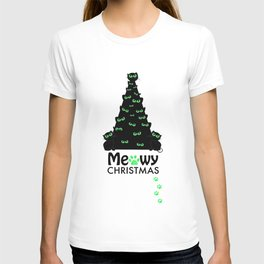 Christmas tree with black cat. ''Meowy Christmas'' text with paw prints. Happy new year greeting car T-shirt