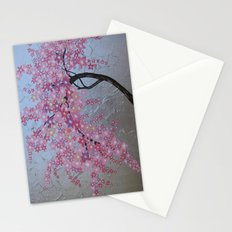 Pink cherry blossom - sakura with silver background Stationery Cards
