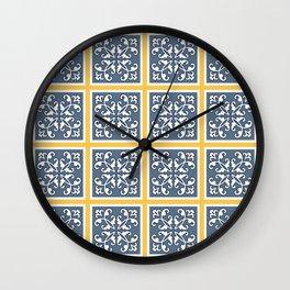 Floral tiles Wall Clock