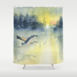 Flying Home - Great Blue Heron Shower Curtain