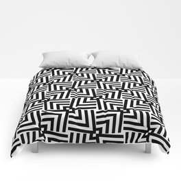 Black And White Op-Art Triangle Pattern Comforters