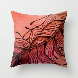 Doodled Autumn Feather 01 Throw Pillow