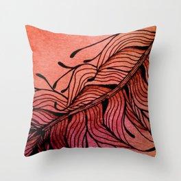 Doodled Autumn Feather 01 Throw Pillow