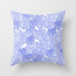 Pativa - pastel monstera palm leaves tropical summer palms Throw Pillow