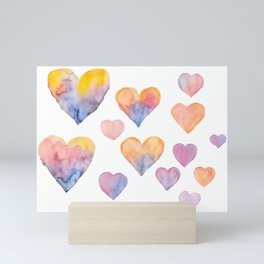 Set of colorful hearts by watercolor Mini Art Print