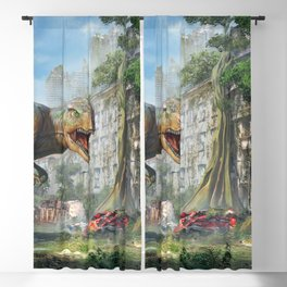 Magnificent Jurassic T Rex Dinosaur Post Apocalyptic Dystopia Survival Ultra HD Blackout Curtain