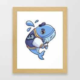 Blue Whale Sperm Whale Fish Sea Gift Framed Art Print