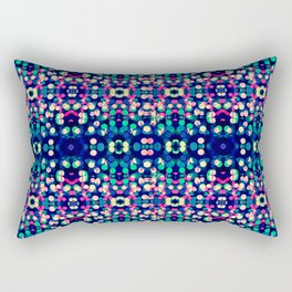 Vibrant Blue Bokeh Kaleidescope Pattern Rectangular Pillow