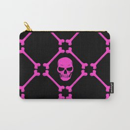 Skulls and bones hot pink on black Carry-All Pouch