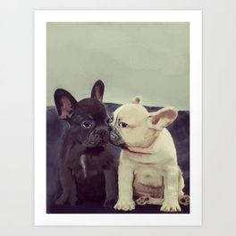 Frenchie kiss Art Print