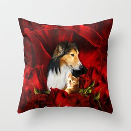Furry Friends embedded in Roses Throw Pillow
